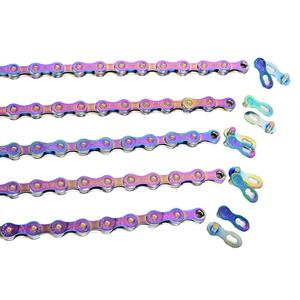 Image 5 - SUMC Multi Colored 9/10/11/12 Speed Bicycle Chain   Rainbow Hollow Semi Hollow Magic Buckle Road Bike MTB Compatible 116/126L