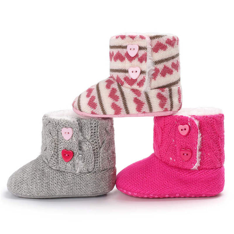 Baby Shoes Boy Girl Shoes Toddler Infant Knitted Fabric Loving Heart Warm Soft  Cotton Sole Newborn Toddler First Walkers Shoes
