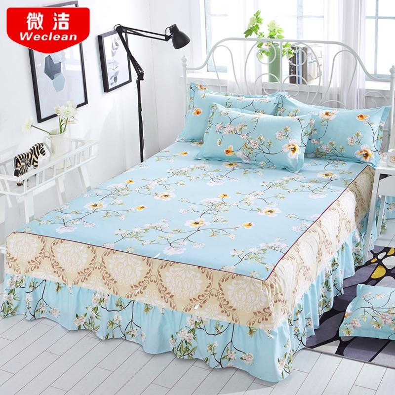 27 Bed skirt Bedcover Floral Fitted Sheet Cover Bedspread Bedroom Home Textile Skirt Cubrecama Single Full Queen Bedspread