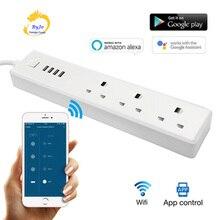 와이파이 전원 스마트 스트립 USB 영국 플러그 소켓 3 전원 소켓 와이파이 전화 제어 알렉사와 함께 작동 Google 홈