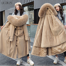 Winter Jacket Coat Padded Hooded Wool-Liner Parkas Woman X-Long Warm Thick Plus-Size