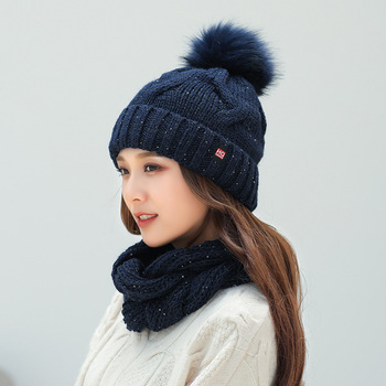 цена на Knitted Winter Hat and Scarf Set Women Thick Warm Beanies Hat Scarf Female For Girls Pom Pom Beain Hats solid color