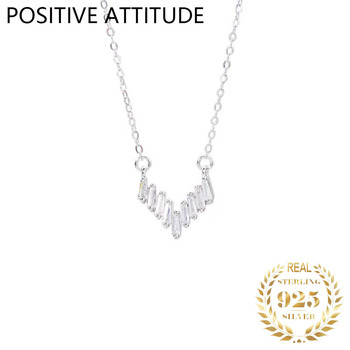 2020 new Korean 925 silver 1 word crystal V-shaped woman pendant clavicle necklace wedding party Valentine's Day gift bijoux