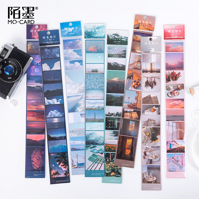 DEHMJJ Time Film Series Ins Wind Landscape Washi Masking Tape Stickers Scrapbooking Stationery Decorative Long Strip Of Tape
