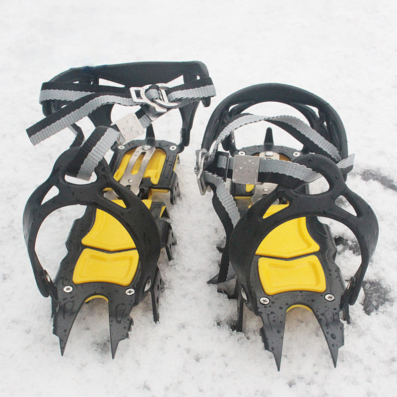 18-Teeth Climbing Anti Skid Crampons Adjustable Winter Walk Ice Claw Mountaineering Snowshoes Manganese Steel Outdoor Shoe Cover