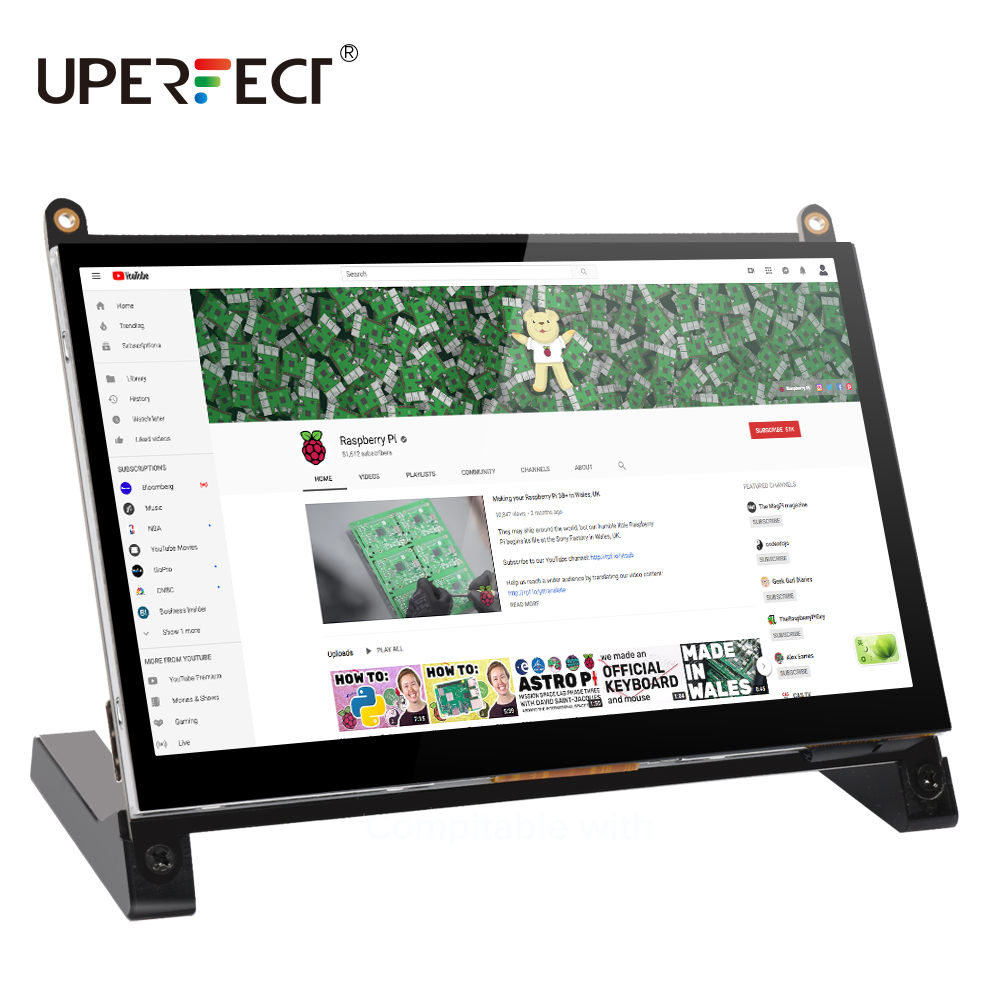 <font><b>Touchscreen</b></font> Monitor 7 <font><b>Inch</b></font> Portable USB Monitor Raspberry Pi Touch Screen IPS Display Computer Monitor 1024X600 16:9 Screen image