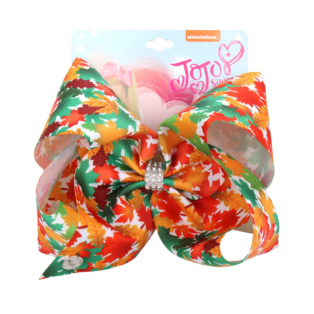 Oaoleer Hair Accessories 8 Inches Ribbon Hair Bows for Girls Maples Printed Hair Clips for Children Rhinestone Bowknot Hairgrips in Hair Accessories from Mother Kids