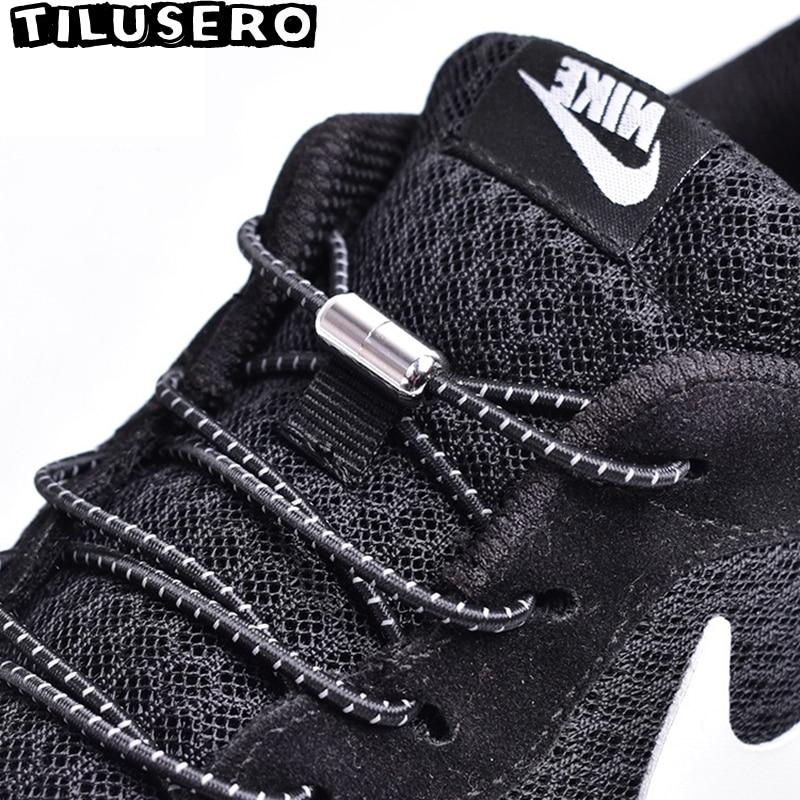 1Pair Elastic Locking Shoelaces Round No Tie Shoe Laces Kids Adult Sneakers Shoelaces Quick Lazy Shoe Lace Shoestrings