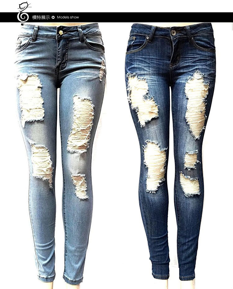 Europe And America New Style AliExpress Hot Sales Slim Fit Elasticity Washing Frayed With Holes Jeans WOMEN'S Pants