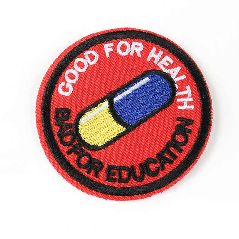 Круглый бейдж патч вышивка мультфильм шаблон яркие таблетки Милая медаль одежда chapter переводной значок патчи