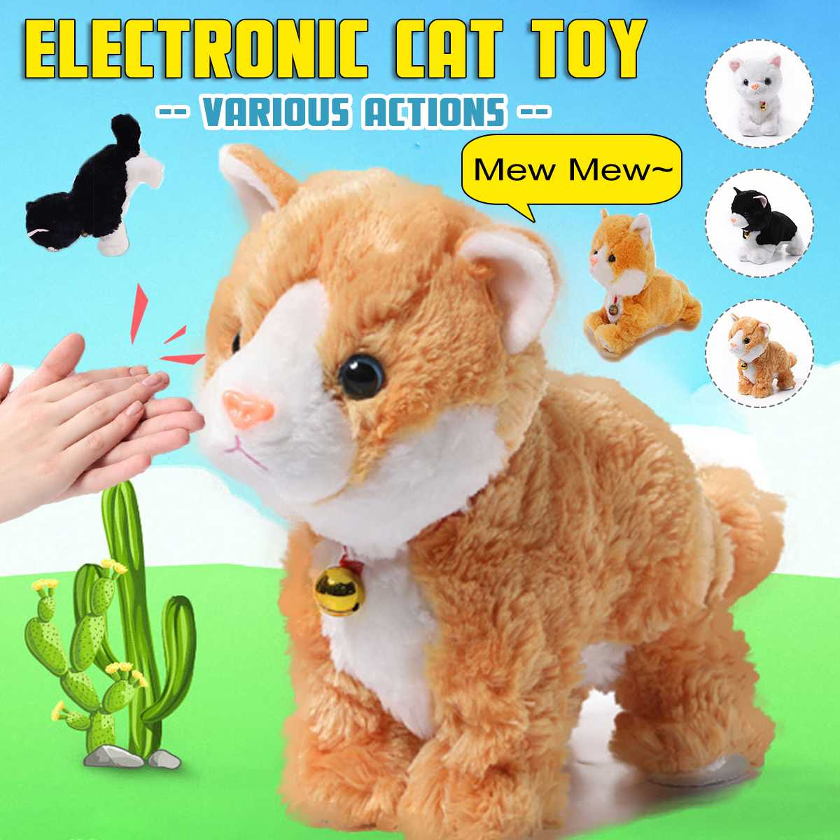 Robot Cats Sound Control Toys Electronic Toy Stand Walk Mew Interactive Cat Soft Plush Cat Pet Toys For Children Birthday Gifts