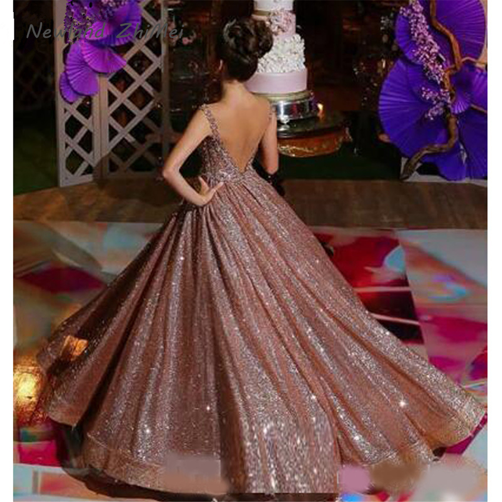 Elegant Rose Gold African Reflective Quinceanera Dresses New Beaded Sequined Backless Formal Gowns Sparkly Prom Party Dress(China)