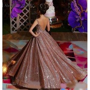 Элегантное блестящее платье Quinceanera цвета розового золота в африканском стиле, Новые Вечерние платья с открытой спиной и бисером, блестящие ...
