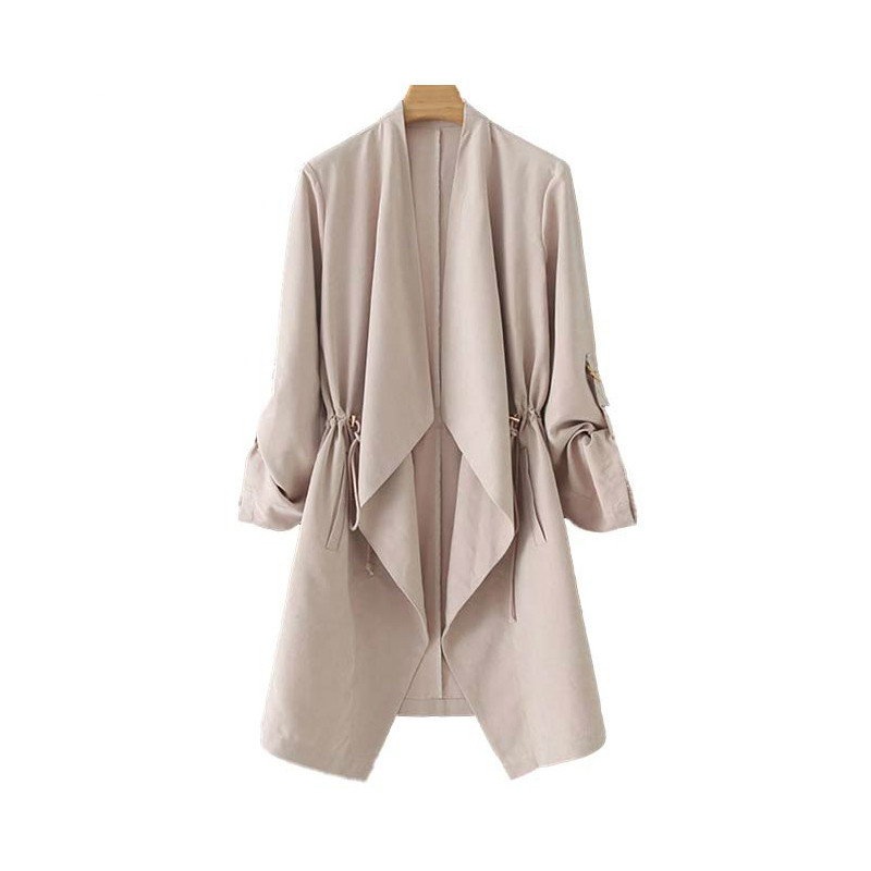 Women 2019 Fashion Vintage Stylish Open Stitch Solid   Trench   Coat V Neck Long Sleeve Drawstring Outerwear Casual Ropa Mujer