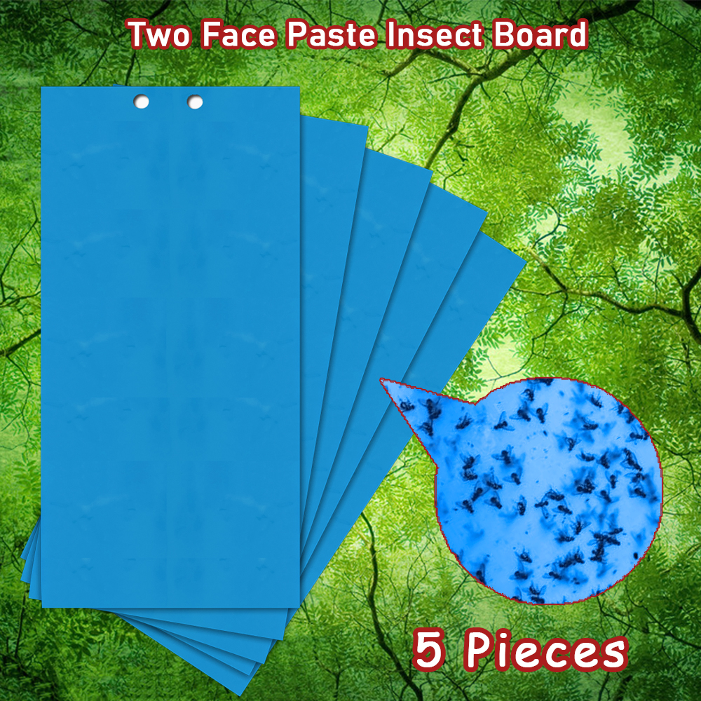 5pcs Two Face Paste Insect Board Double-sided Bug Thripidae Stickers Adhesive Traps Blue Sticky Insect Catcher Flycatcher