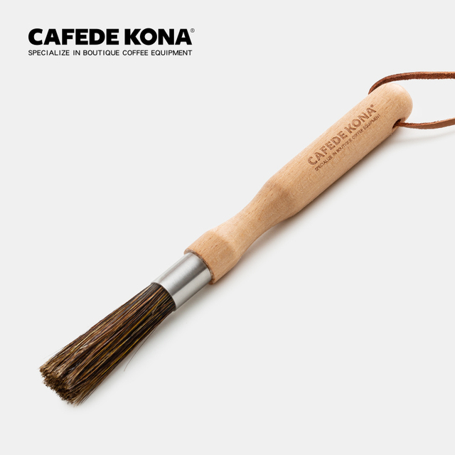 wooden handle cleaning brush bristles Coffee grinder cleaning brush Desktop brush cafe bar household coffee brush 3