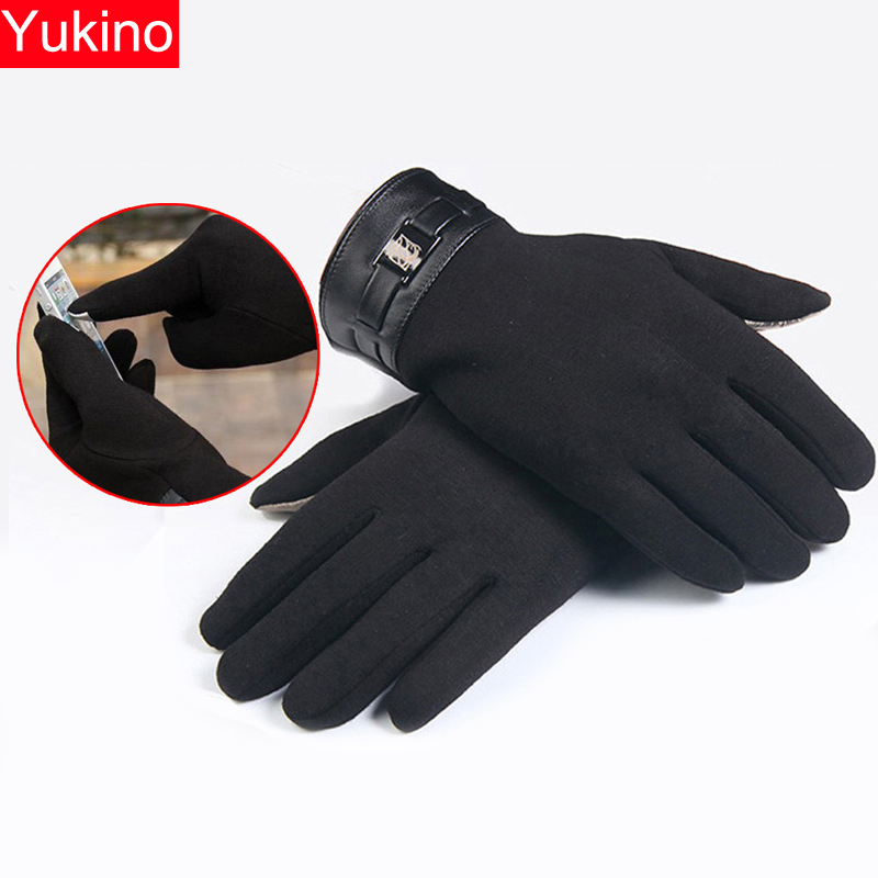 Winter Gloves Touch Screen Mens Full Finger Smartphone Cashmere Gloves Motorcycle Black/Gray/Brown Rekawiczki