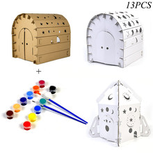 Children'S Diy Graffiti Cardboard Toy Corrugated Paper 3D Puzzle Coloring Assembled Model Children'S Handmade Paper House Toys(China)