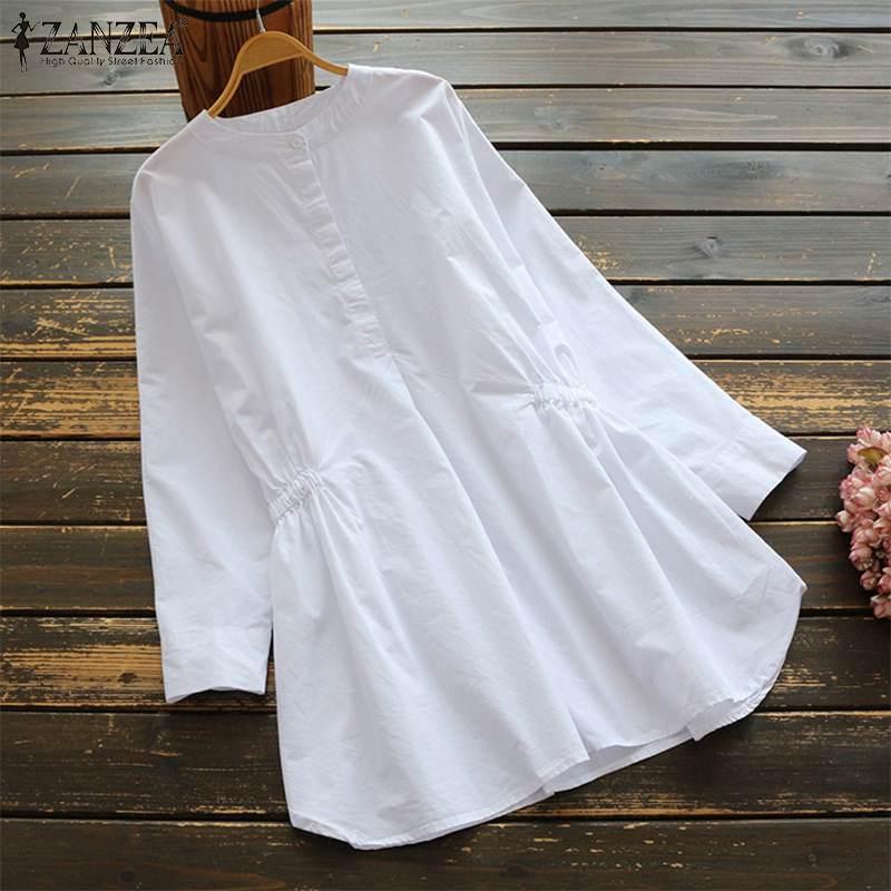 Vintage Cotton Shirts Women's Pleated Blouse ZANZEA 2020 Casual Long Sleeve Shirts Female O Neck Work Blusas Plus Size Tunic 5XL