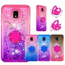 Diamond Cases Voor Samsung J3 Prime J7 J5 J4 + J6 J6plus Vinger Ring Liquid Glitter Bling Leuke Cover Case voor Samsung M20 M30s M40
