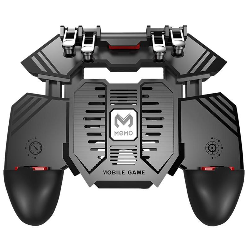 MEMO AK77 6 Finger Feuer Trigger PUBG Mobile Gaming Shooter Controller Gamepad Grip Mit Dual Kühlung Fans Handy Heizkörper