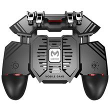 MEMO AK77 6 Fingers Fire Trigger PUBG Mobile Gaming Shooter Controller Gamepad Grip With Dual Cooling Fans Mobile Phone Radiator