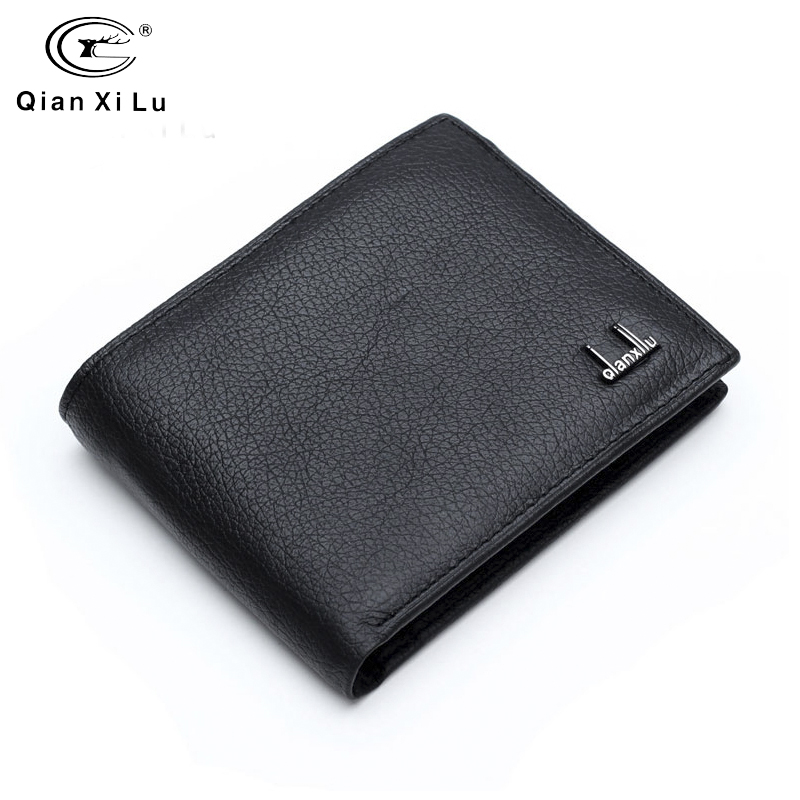 Qianxilu Brand 2016 100% Genuine Leather Mens Wallet Cowhide Wallets For Man Short Black Premium Product Portefeuille Homme Cuir