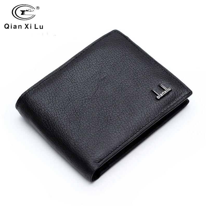 Qianxilu marque 2016 100% en Cuir véritable hommes Portefeuille peau de vache portefeuilles pour Homme court noir Premium produit Portefeuille Homme Cuir