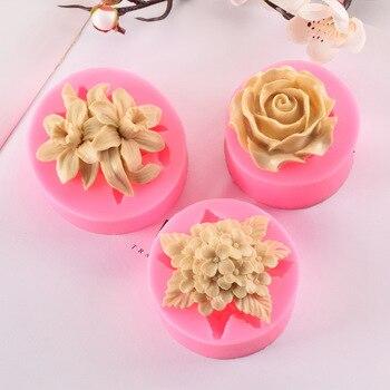 Lilac Rose Lily silikonowe formy do fondantów, babeczek galaretki dekorowanie czekolada Diy narzędzia do pieczenia 3d silikonowe formy mydło wyrabiane ręcznie formy