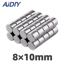 AI DIY 10Pcs 8mm x 10mm N35 Permanent Magnet Art Small Round Super Strong Powerful Neodymium Rare Earth Magnetic Disc 8*10mm