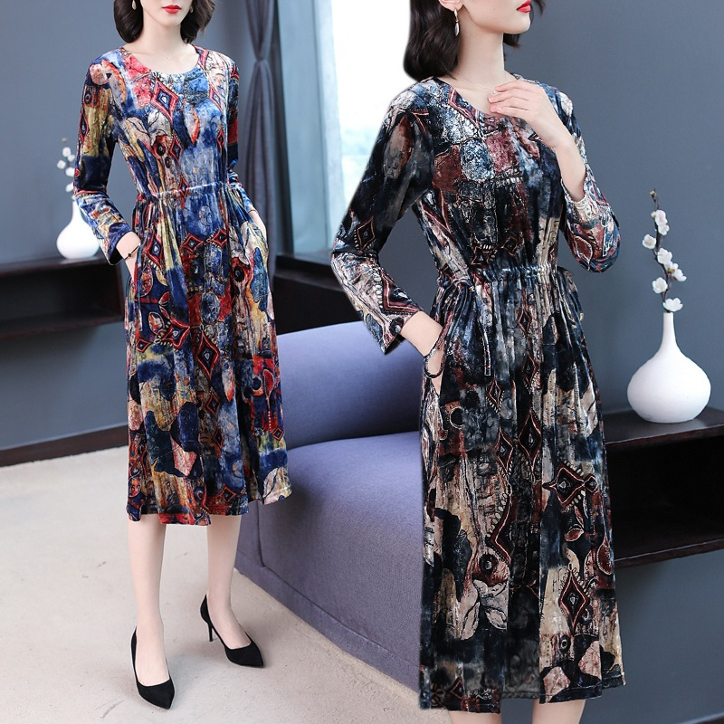 Early Autumn Clothing 2019 New Style WOMEN'S Dress Lady Long Sleeve Full Body Dress High-End Western Style Forty-Year-Old Nobili