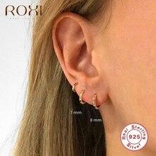 ROXI – boucles d'oreilles rondes en cristal, petite géométrie, bijoux pour femmes et hommes, Cartilage, en argent Sterling 925