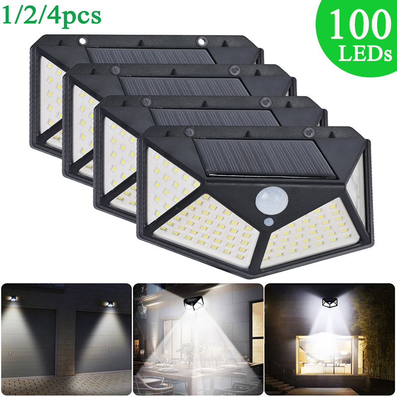 1/2/4pc Solar Light 100 LEDs Solars Lamp PIR Motion Sensor Wall Light Waterproof Solar LED Garden Lights Outdoor Security Lights