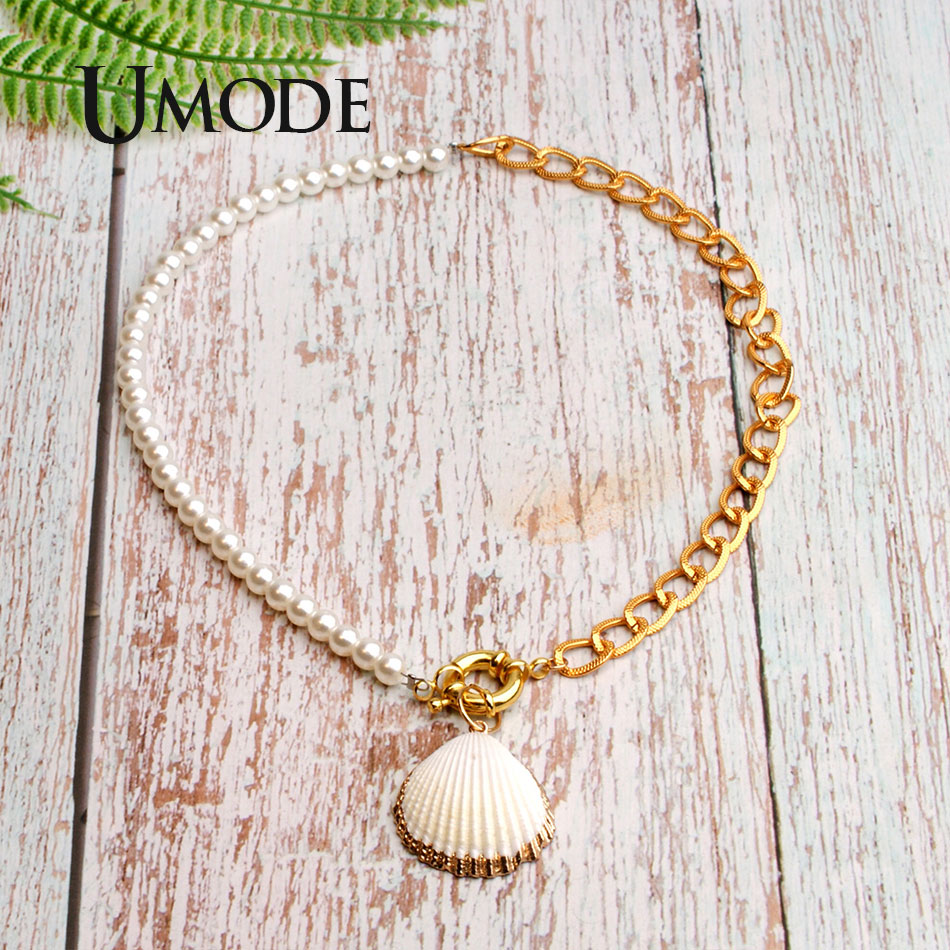 UMODE Gold Color Cowrie Shell Pendant Necklace for Women Vsco Girls Fashion Chain 2019 Statement Collier PN0694