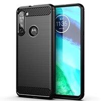 Funda de teléfono a prueba de golpes para Motorola G 60 50 40 30 20 10 9 8 7 6 5S Plus, carcasa de lujo de fibra de carbono con textura cepillada