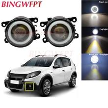 2x Car Accessories LED Fog Light Angel Eye with Glass len For Renault Sandero Stepway Hatchback 2008-2015 For Megane 3 2008-2015