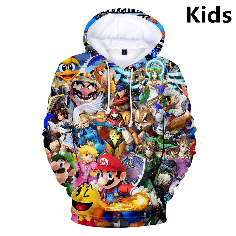 2 To 13 Years Kids Hoodies Classic Games Super Mario Bros 3d Hoodie Sweatshirt Boys Girl Hip Hop Streetwear Jacket Child Clothes