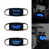 1Pcs Luminous Baumwolle Unisex Anti-staub Schwarz Mund Maske Abdeckung mit Glowing Blau Vampire Zähne Drucken für Männer frauen Jungen Mädchen