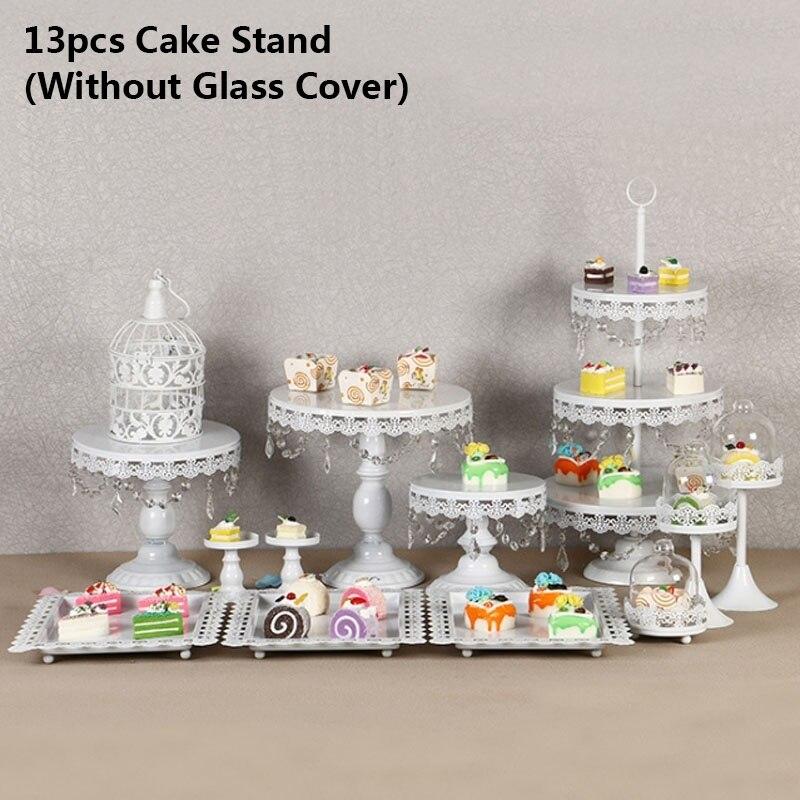 13 pièces/ensemble or blanc gâteau support ensemble rond en métal Cupcake Dessert affichage piédestal mariage présentoir gâteau décoration outil - 4