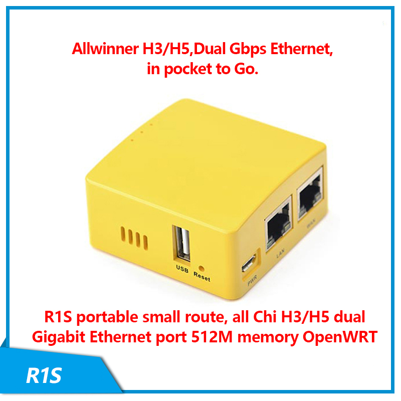 FriendlyELEC NanoPi R1S Small Route, All-in-one H3/H5 Dual Gigabit Ethernet Port 512M Memory OpenWRT, Easy To Carry