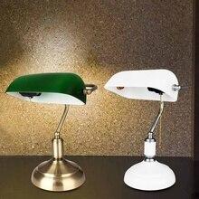 Традиционная античная латунь+ зеленый банкиры стол офисная настольная лампа светильник для отдыха