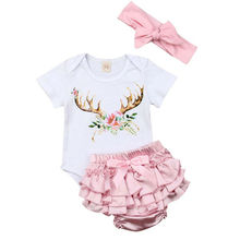 Bodysuits Short Sleeve Cotton Cute Lace Shorts Ruffles Summer Clothing 2pcs Newborn Infant Baby Girls Clothes Sets Tops free shipping 2017 summer female baby girls shorts sets infant fly sleeve vest 2pcs suit lollipop