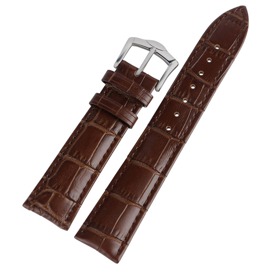 20/22mm Width Brown Genuine Leather <font><b>Watch</b></font> Bands <font><b>HQ</b></font> <font><b>Watch</b></font> Straps Replacements Pin Buckle with 2 Spring Bars image