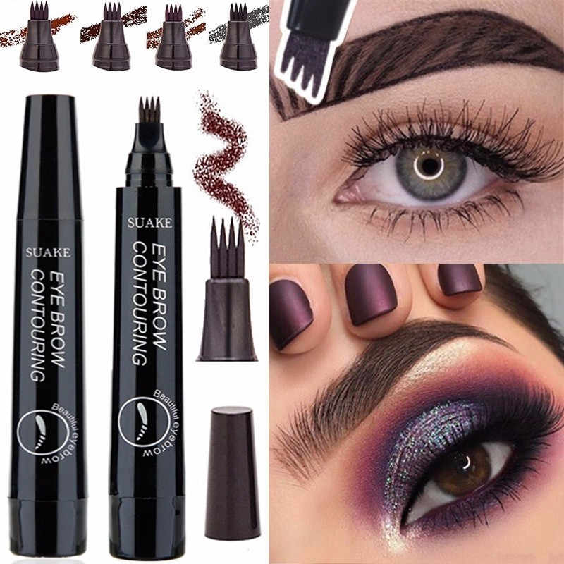 4 Colors Eyebrow Pen Waterproof Natural Lasting No Fading Fork Tip Sketch Makeup Ink Tattoo Eyebrow Enhancer Pen Beauty Cosmetic