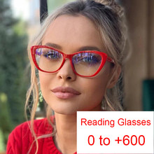 Retro Cat Eye Blau Filter Lesebrille Anti Glare Brillen Vergrößerungs Bifokale 0 ~ + 6,0 Dioptrien Elders Telefon Computer gläser