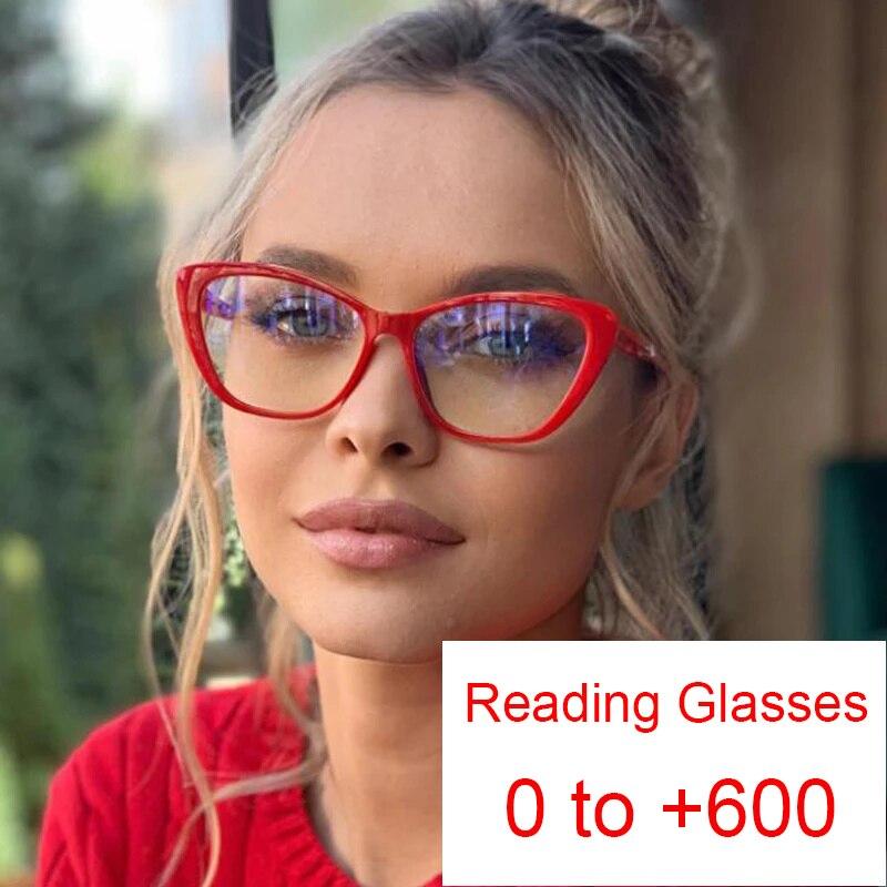 Retro olho de gato filtro azul óculos de leitura anti brilho óculos lupa bifocal 0 ~ + 6.0 diopter anciãos telefone computador óculos