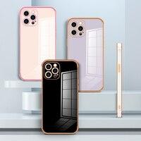 Custodia per telefono per iPhone 12 11 Pro X XR XS Max 7 8 Plus SE 2020 custodia per telefono in TPU con bordo dritto elettrolitico di lusso Color caramella