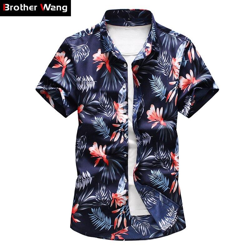 Men's Floral Shirt 2020 Summer New Fashion Casual Plus Size 5XL 6XL 7XL Short Sleeve Hawaiian Shirt Male Brand Clothes