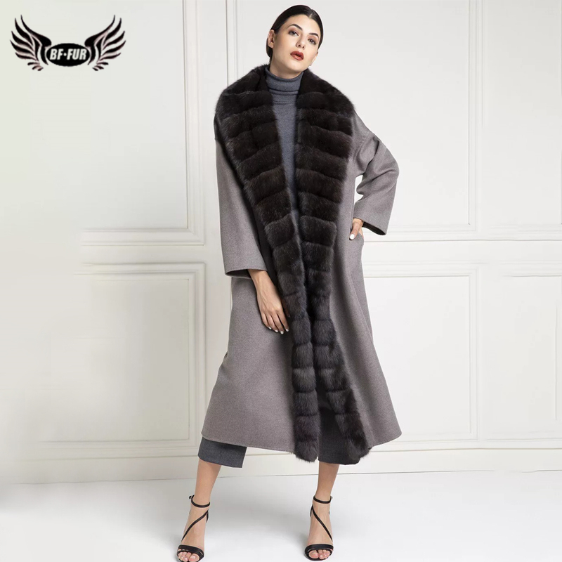 BFFUR Women Real Mink Fur Coat Female Woolen Blends Long Jacket With Belt Natrual Mink Fur Front Winter Coats Warm Luxury Outfit