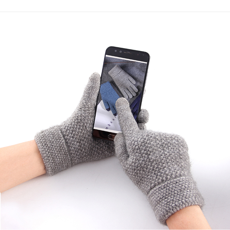Touch Screen Gloves For Winter Alpaca Wool Knitted Men's Gloves Female Warm Mitten Outdoor Driving Cold-proof Glove Guantes Mitt